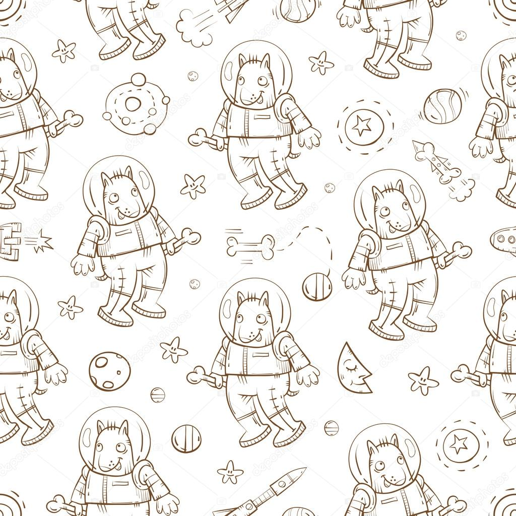 Pattern with dogs astronaut.