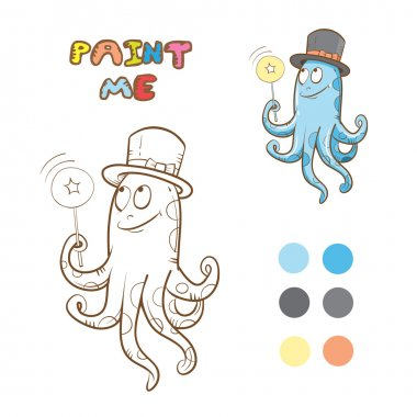 Coloring book with octopus. Vector image. Cartoon  octopus conjurer. clip art vector