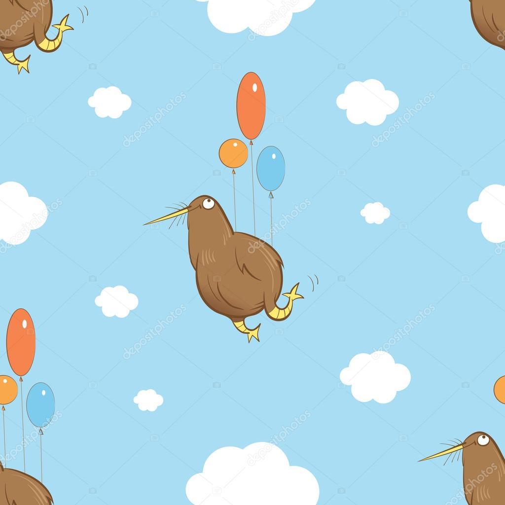 Pattern with kiwi birds.