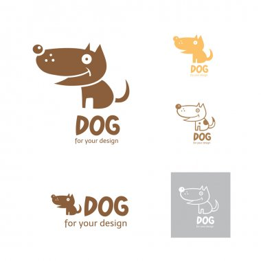 Cartoon dog logo. Vector image. Five options of  logo. clip art vector