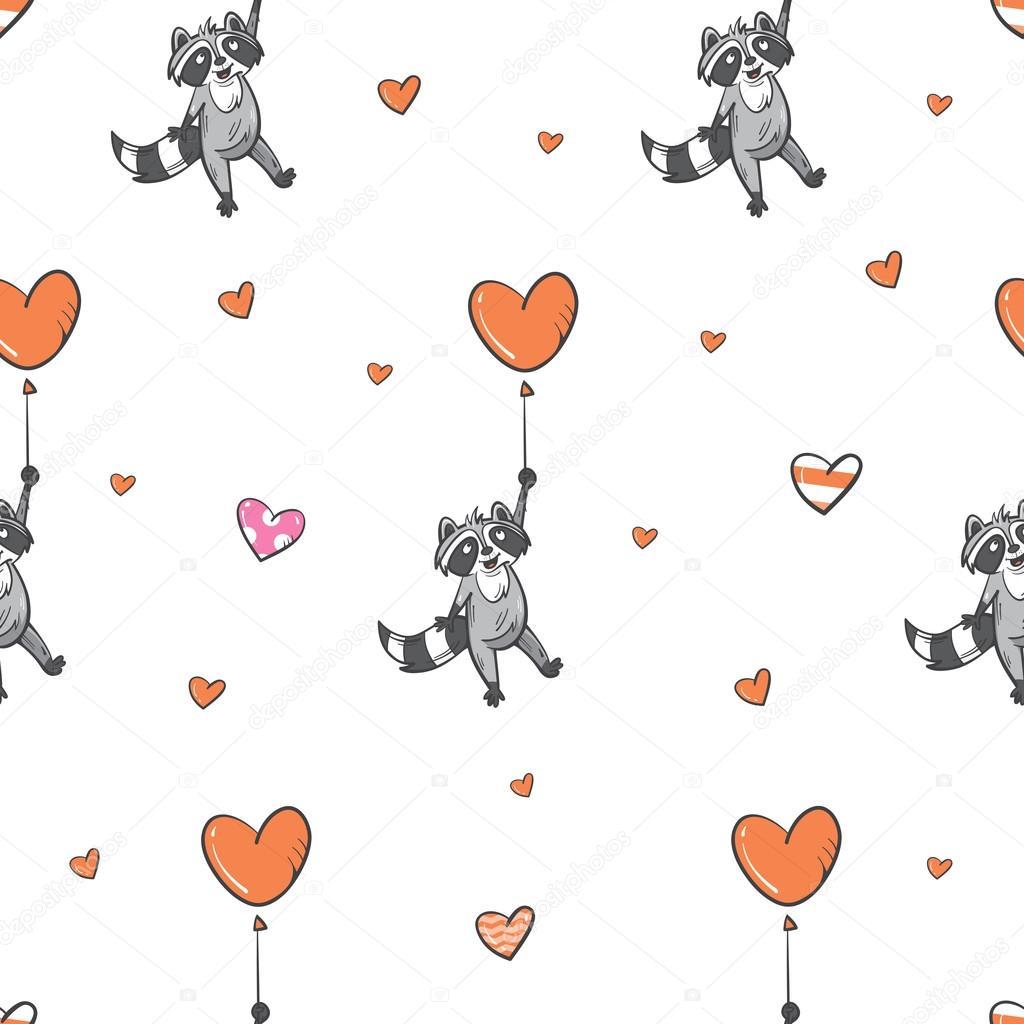 Patrón con los mapaches — Vector de stock © voron4ihina #95557534