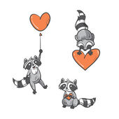 Photo Cartoon  raccoons set.