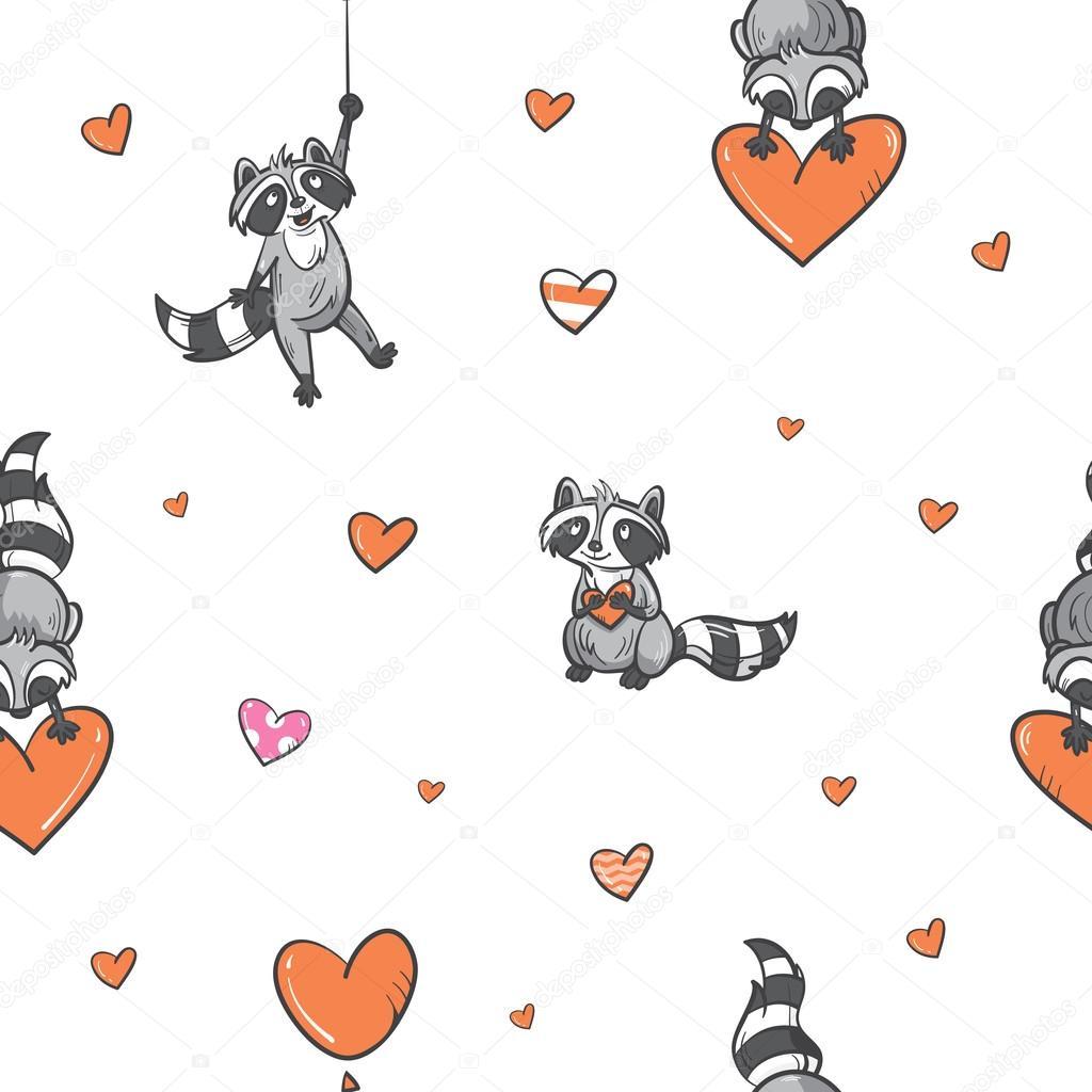 Imágenes: mapache enamorados | Patrón con los mapaches — Vector de ...