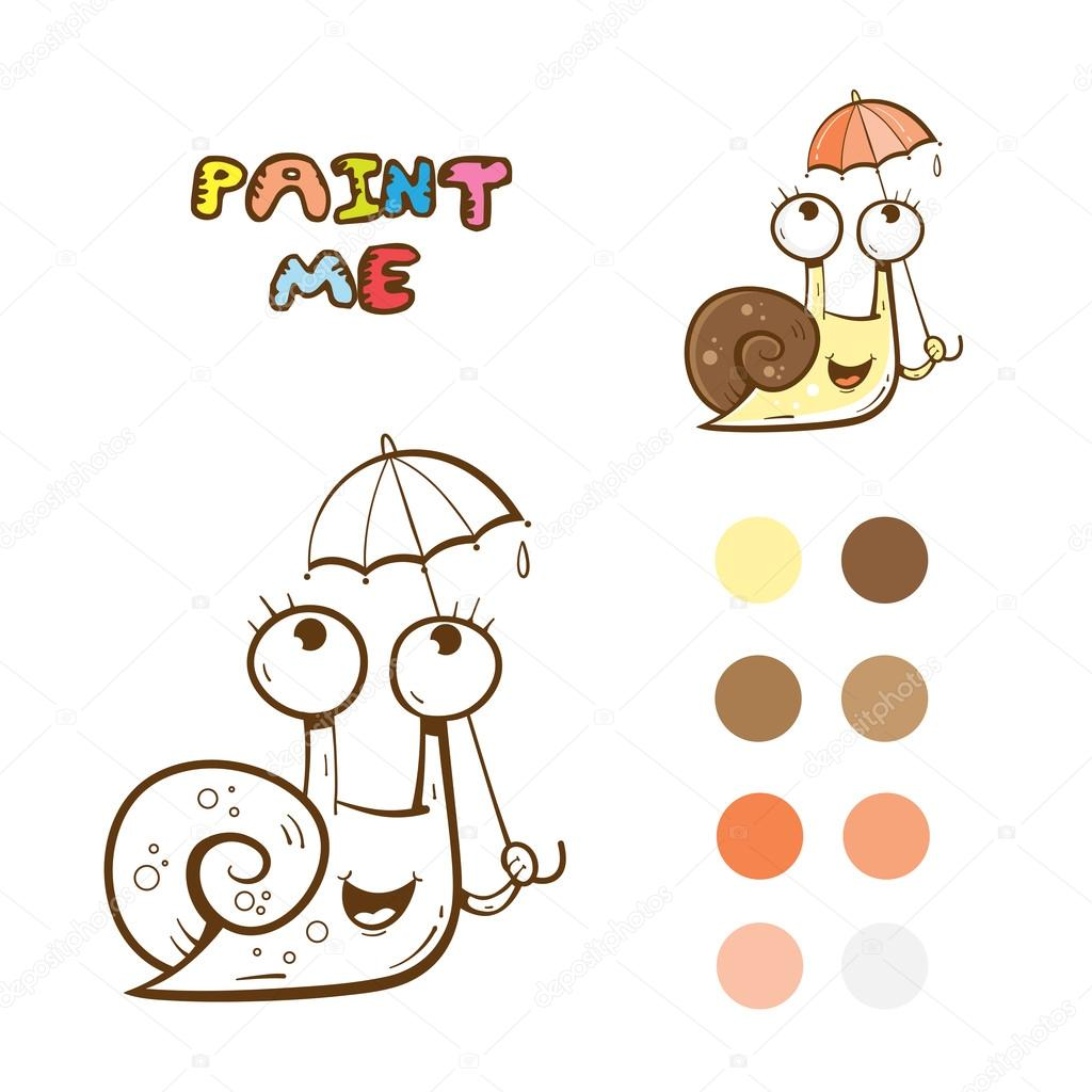 Libro para colorear con caracol — Archivo Imágenes Vectoriales ...