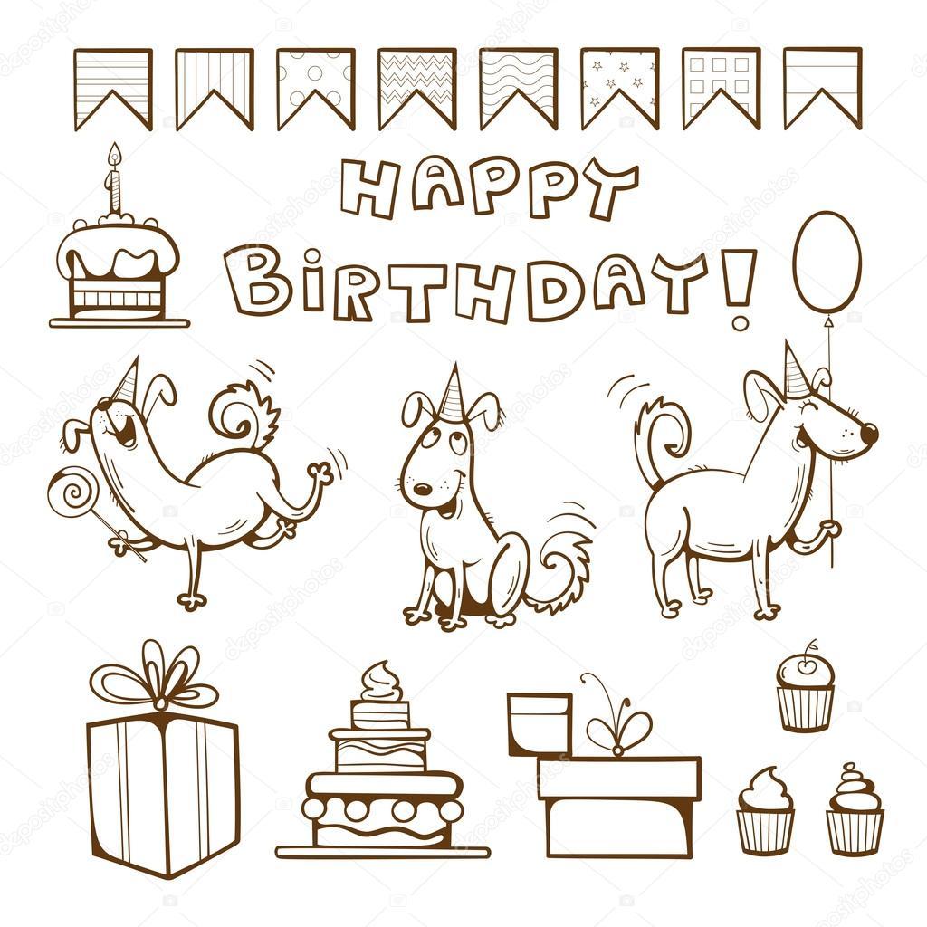 Doğum Günü Boyama Kitabı Stok Vektör Voron4ihina 98612956