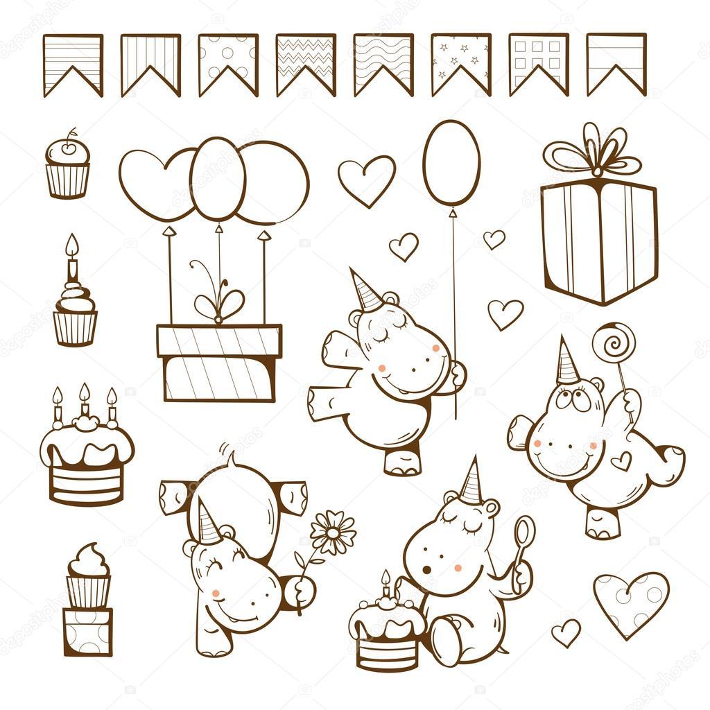 Libro para colorear de cumpleaños — Archivo Imágenes Vectoriales ...