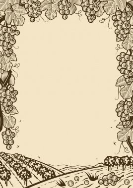 Vertical retro grapes frame in woodcut style. Monochrome editable vector illustration with clipping mask. stock vector