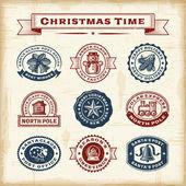 Fényképek Vintage karácsonyi bélyegek készlet