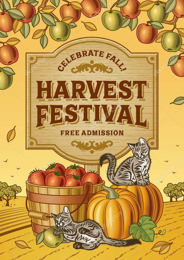 Harvest Festival Poster — Stock Vector © iatsun #80501568