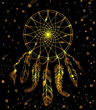 hand drawn golden american indian dreamcatcher with feathers bea