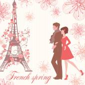 french spring vector illustration with couple