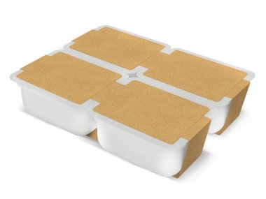 White plastic blank bank for food, oil, mayonnaise, margarine, cheese, ice cream, olives, pickles, sour cream with eco paper cover. Food and drink plastic blank. Template Ready For Your Design. Isolat