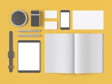 Grey branding mockup. Template set on yellow background. 3d rendering.