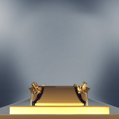 Empty golden stage podium for award ceremony.