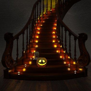 Halloween Jack-O-Lantern Pumpkin on the stairs.