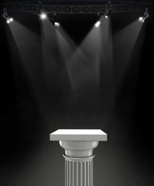 Illuminated empty stage podiums for award ceremony.