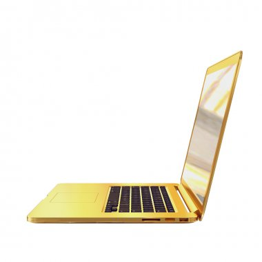 Golden laptop on a white background