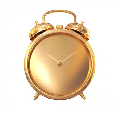 Golden old fashioned   alarm clock on white  background.