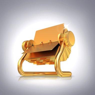 Golden card holder on grey background.