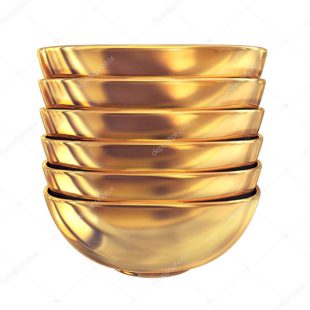 Golden plate on white background.