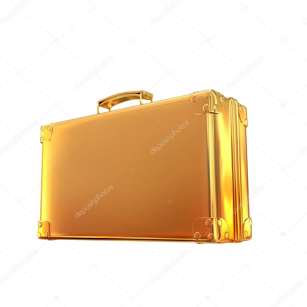 Beautiful golden briefcase representing  business  on white  background
