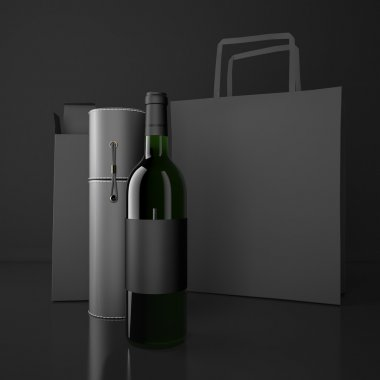 Wine bottle and packing bags. High resolution.