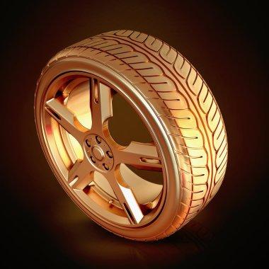 Golden tire on black  background.