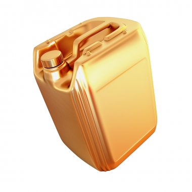 Golden canister isolated on white background.