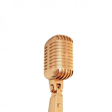 Golden retro microphone  isolated on white background.