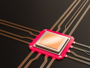 A processor (microchip) interconnected receiving and sending information. Concept of technology and future.