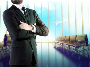 Businessman on blurred background airport  .