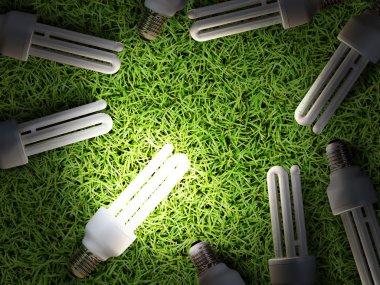 Energy-saving lamp in green grass