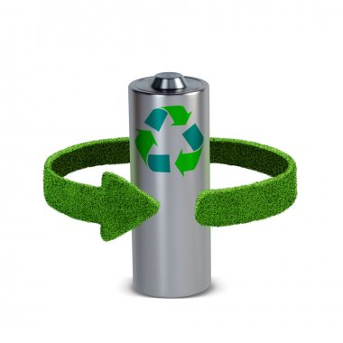 Recycling batteries and accumulators. Concept with green arrows from the grass. Recycling concept