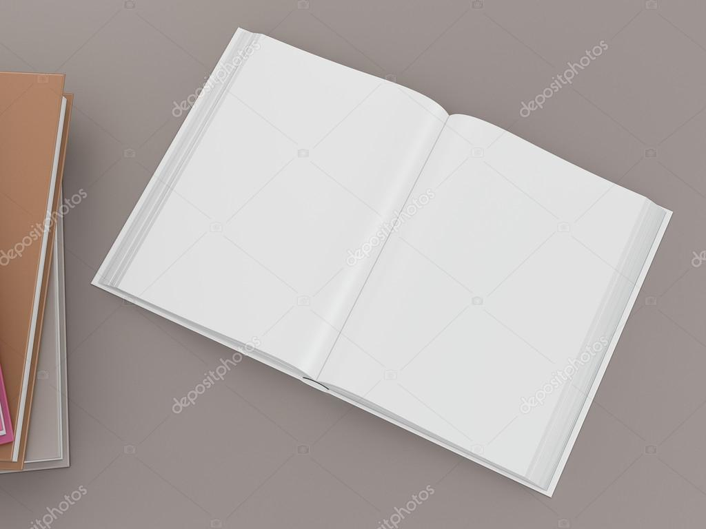 Empty color book mockup template on gray background