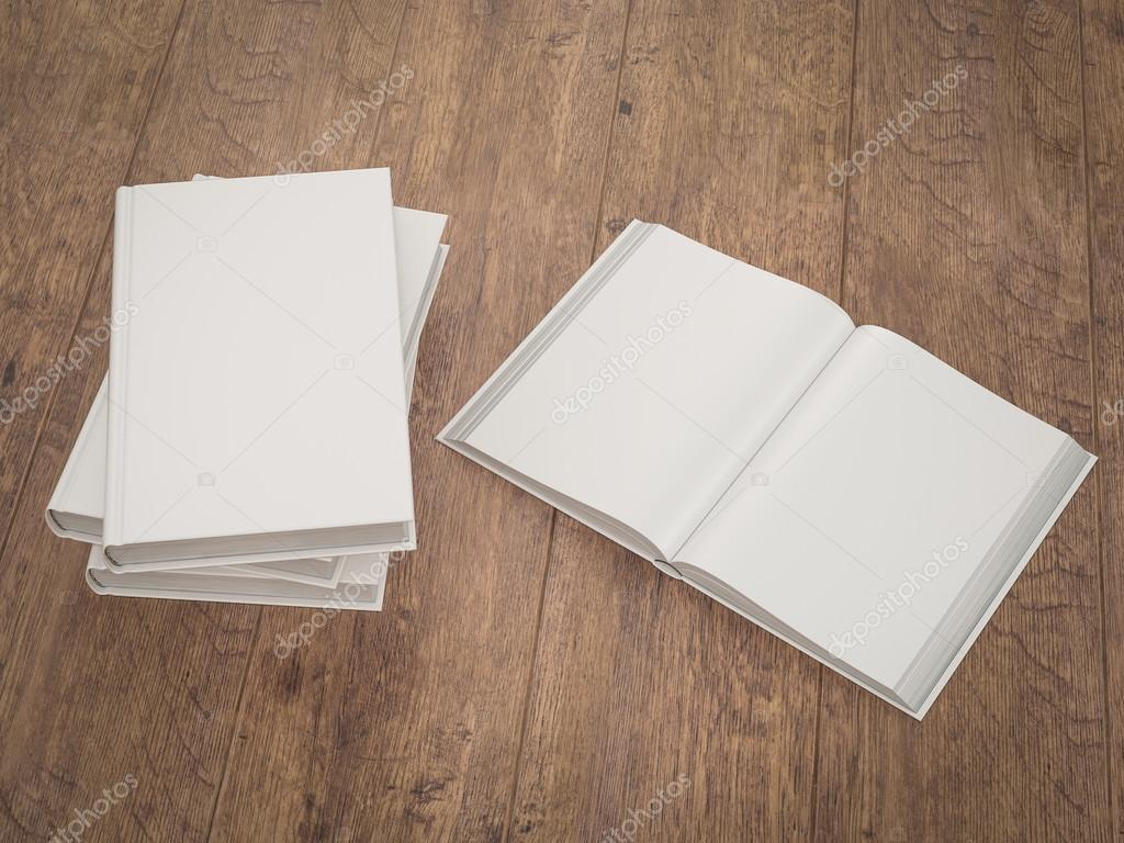 Empty white book mockup template on wood background