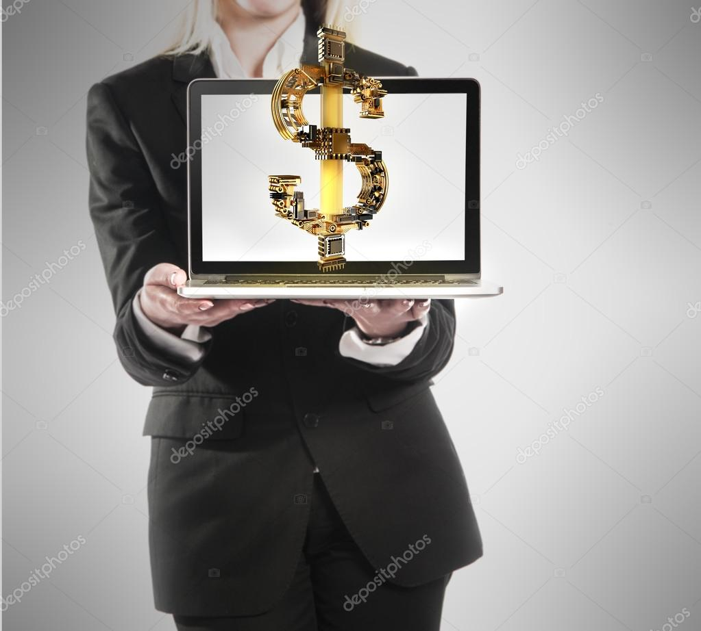 Young businesswoman with laptop and dollar money sign in hand