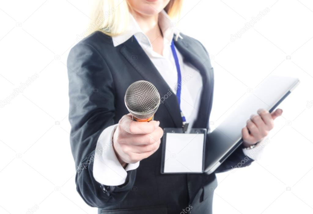 Woman with microphone isolated on white. Interview.