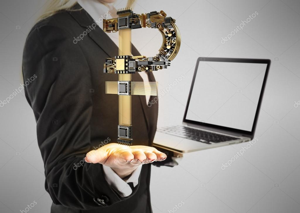 Young businesswoman with laptop and ruble money sign in hand