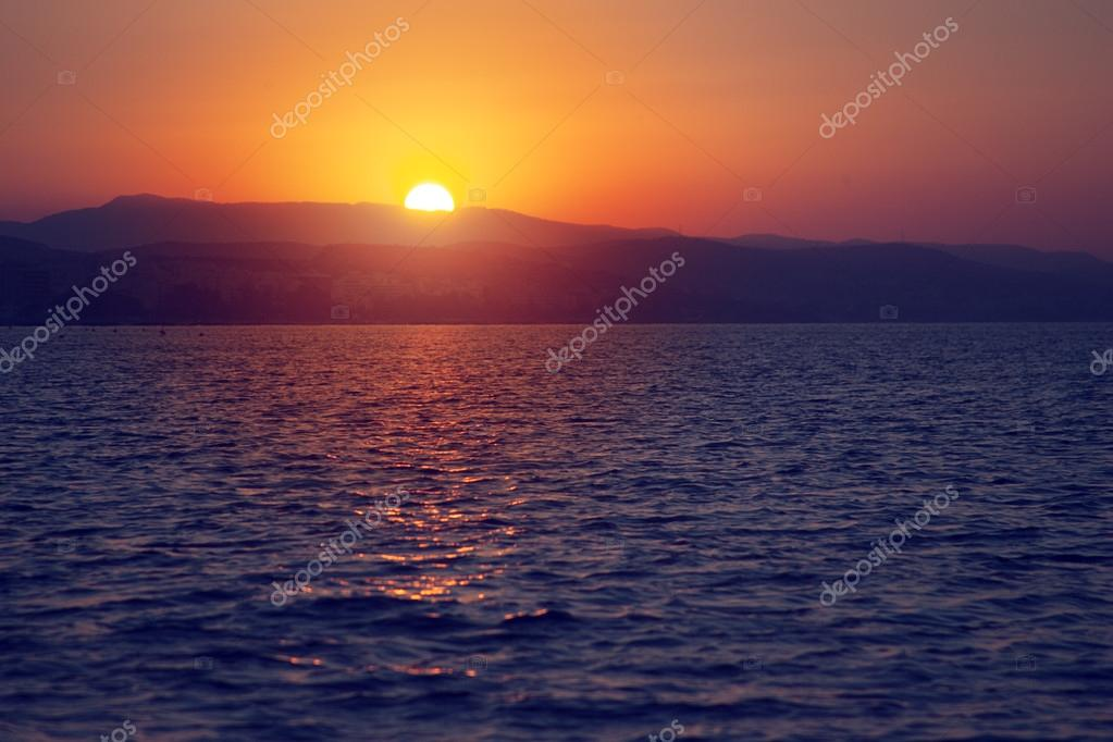 Beautiful sunset on the fishing boat