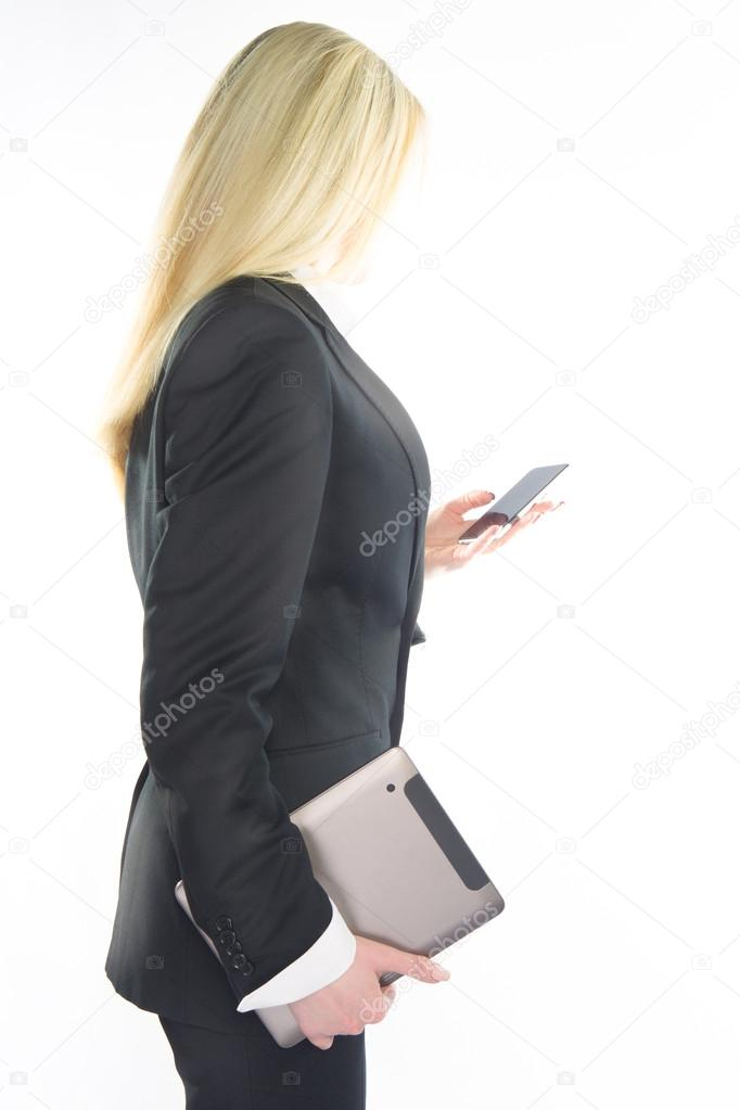 Business woman using mobile phone isolated on white background
