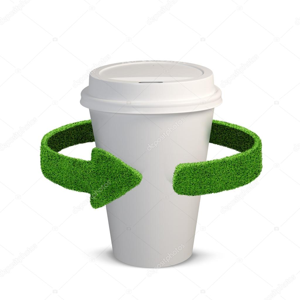 Plastic Cup. Concept with green arrows from the grass. Recycling concept