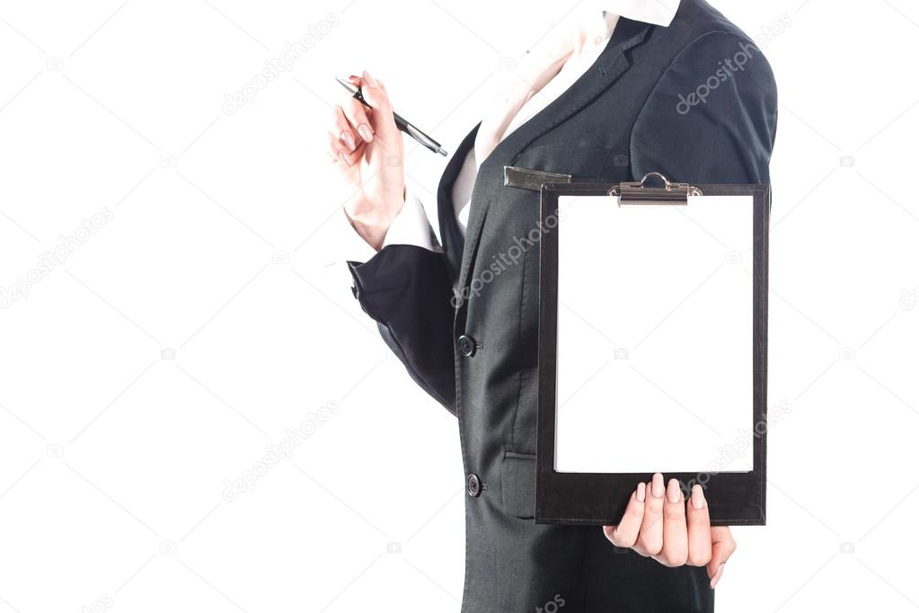 Business woman using notebook isolated on white background