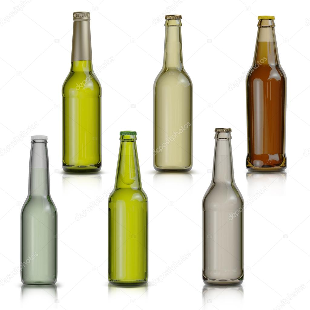 Set of bottle of beer  isolated on white background