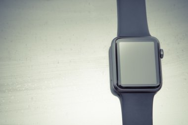 Smart watch on stone background. Mockup