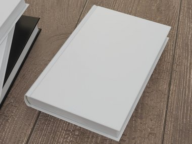 Mockup of the book with a white cover on a wood background