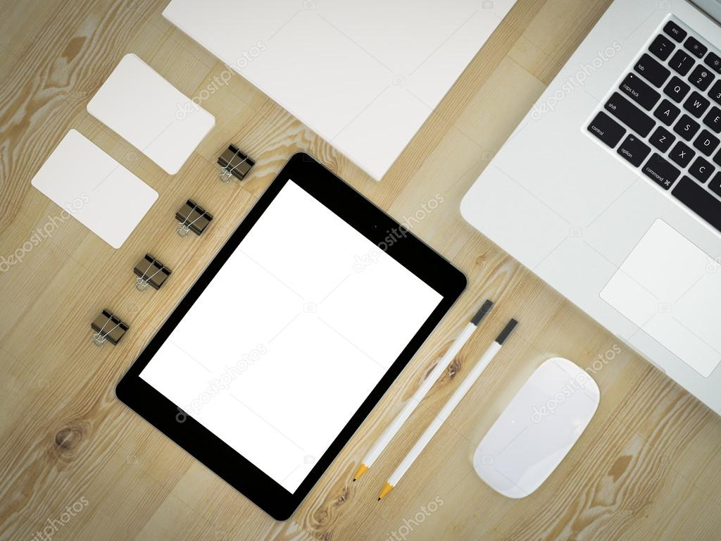 Mockup business template. Set of elements on the wooden table.