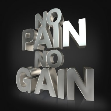 Motivational fitness phrases iron letters on black studio background