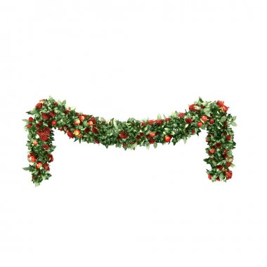 Christmas garlands decorated with red velvet bows, isolated on white.