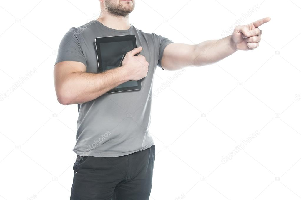 Man with the tablet indicates the direction of the hand