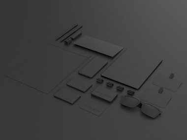 Black Branding Mockup set. Business template